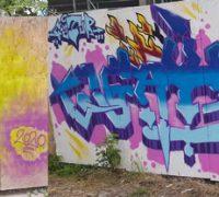 Graffiti am KuBiC-Bauzaun